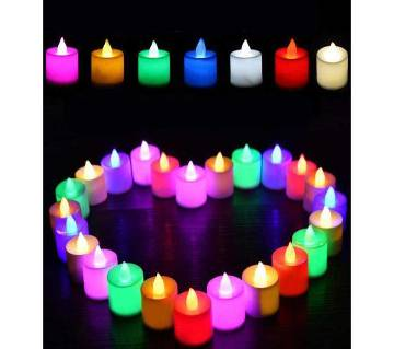 Multi-color LED electronic luminous candle lights (12 Pcs)