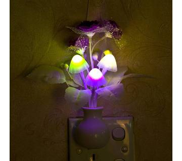 Romantic Colorful Sensor LED Mushroom Night Light Wall Lamp