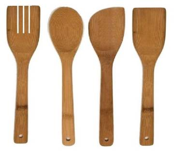 Wooden Bamboo Kitchen Spoon Set - Brown