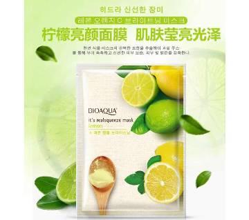 BIOAQUA Lemon ফেসিয়াল মাস্ক Moisturizing Whitening Shrink Pores Face Mask Oil Control brighten skin tone Face Care, 30 gm, China