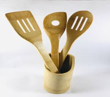 Bamboo Kitchen Tools - 3 pcs With Kitchen Utensils - Wooden