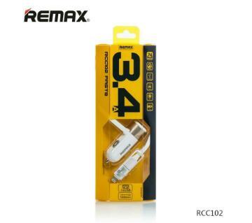 Remax RCC102 কার চার্জার সিঙ্গেল পোর্ট উইথ মাইক্রো USB 2 in 1 ক্যাবল