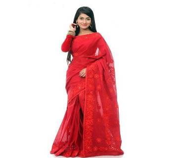 Pure Muslin Silk Embroidery Red Saare
