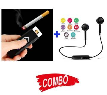 S6 Wireless Bluetooth Earphones + USB Rechargeable Electronic Cigarette Lighter Combo Offer