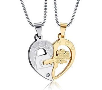 I Love You Couple Pendant Silver & Golden
