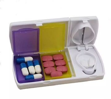 Portable Pill Cutter Splitter Divide Storage Case Medicine Box