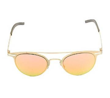 Golden Stainless Steel Light Pink and Orange Shaded Sunglasses for Men