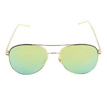 Golden Stainless Steel Light Green Shaded Sunglasses for Men
