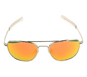 Beige Stainless Steel Orange Shaded Sunglasses for Men