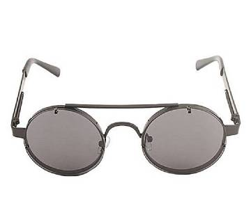 Black Stainless Steel Gray Shaded Sunglasses for Men