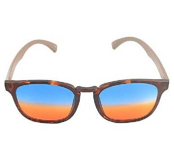 Brown Plastic Blue and Orange Shaded Sunglasses for Men
