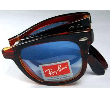 Ray.Ban Black-Blue Folding Sunglass-Copy