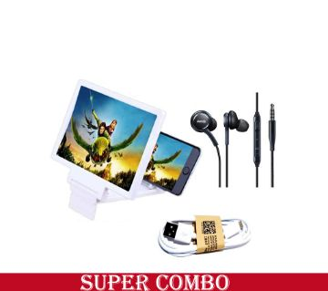 3D Mobile Glass  + AKG Ear phone + Usb Cable Combo