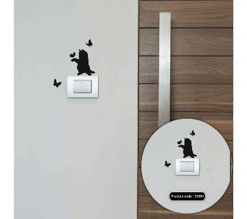 Cat - Butterfly Switch & Socket Vinyl Decals Removable Wall Sticker - DDecorator