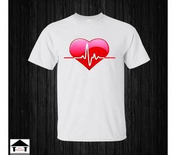Heart Beat Gents Half Sleeve Cotton T-Shirt White