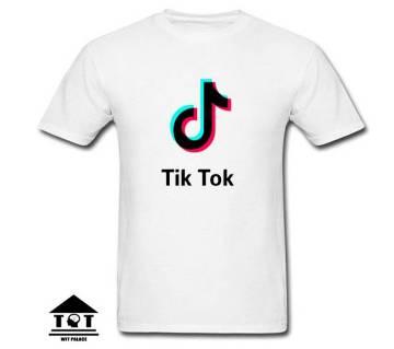 TikTok মেনজ হাফ স্লিভ কটন টি-শার্ট