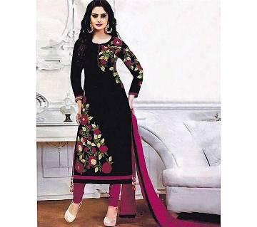 Unstitched Black Cotton Salwaram for Women