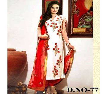 Multicolor Cotton Unstitched Three Piece For Women