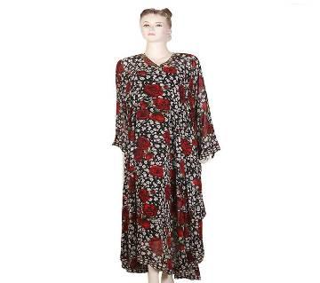 Print golden tone abaya