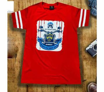 Red Half Sleeve Cotton T shirt for men