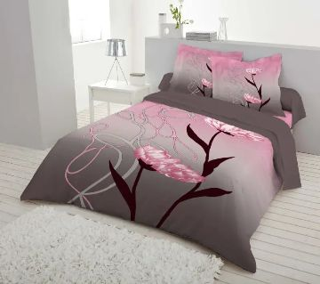Double Size 7.5×8 Feet Cotton Bed Sheet & Pillow Cover Set - Ash & Pink Color