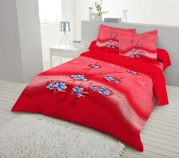 Double Size 7.5×8 Feet Cotton Bed Sheet & Pillow Cover Set - Cherry Red Color