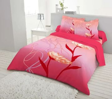 Double Size 7.5×8 Feet Cotton Bed Sheet & Pillow Cover Set - Pink Color