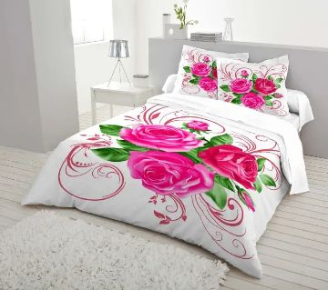 Double Size 7.5×8 Feet Cotton Bed Sheet & Pillow Cover Set - White & Pink Color