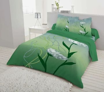 Double Size 7.5×8 Feet Cotton Bed Sheet & Pillow Cover Set - Green Color