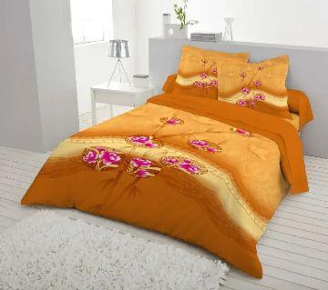 Double Size 7.5×8 Feet Cotton Bed Sheet & Pillow Cover Set - Gerua Color