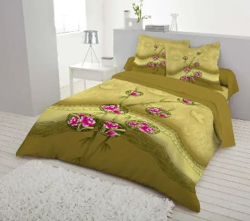 Double Size 7.5×8 Feet Cotton Bed Sheet & Pillow Cover Set - Olive Color