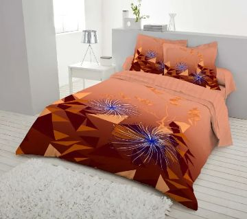 Double Size 7.5×8 Feet Cotton Bed Sheet & Pillow Cover Set - Brown Color