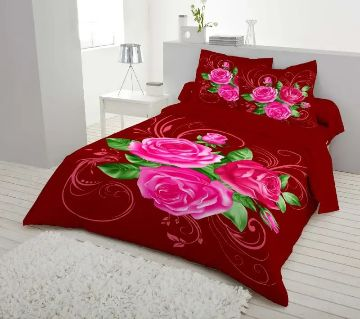 Double Size 7.5×8 Feet Cotton Bed Sheet & Pillow Cover Set - Red Color