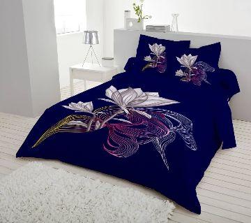Double Size 7.5×8 Feet Cotton Bed Sheet & Pillow Cover Set - Nevi Blue Color