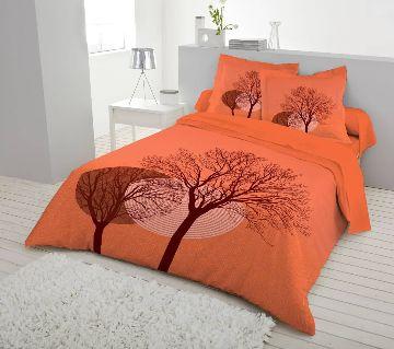 Double Size 7.5×8 Feet Cotton Bed Sheet & Pillow Cover Set - Orange Color