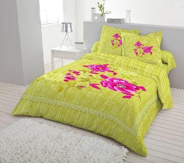Double Size 7.5×8 Feet Cotton Bed Sheet & Pillow Cover Set - Lemon Color