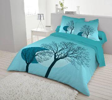 Double Size 7.5×8 Feet Cotton Bed Sheet & Pillow Cover Set - Firoji Color