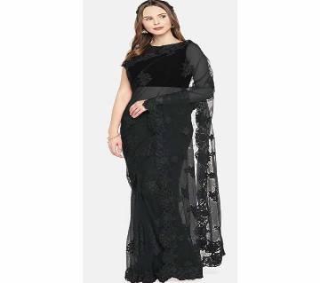 Heavy Banglori Silk Embroidery Saree - 05 - Black - AMI