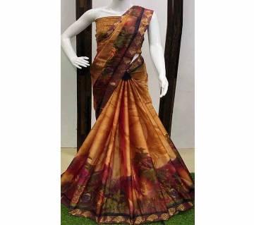 Pedding Printed Saree with Banarasi Border & Running Blouse Piece- 04 Bronze Color