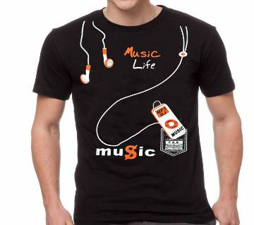 Gents Half Sleeve Cotton MUSIC LIFE T-Shirt