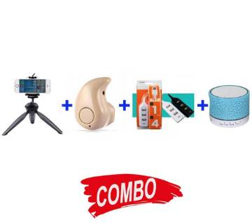 A9 Bluetooth Speaker + Mango Bluetooth Earphone + Yunteng 228 Mini Tripod + 4 Port USB Hab Combo offer
