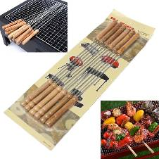 12 pcs stainless steel barbecue grilling kebab square wood handle skewer barbecue stacks for BBQ and cooking