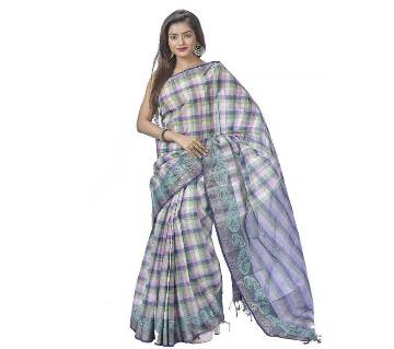 Check Coton Saree Butics Works 13 Hat With Blouse