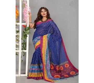 Coton Saree Block & Embroidery 13 Haat Saree With Blouse