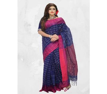 Cotton Sharee Blue Mejenda Combination 13 Hat With Blouse