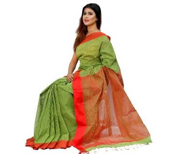 Check Coton Saree 13 hat With Blouse