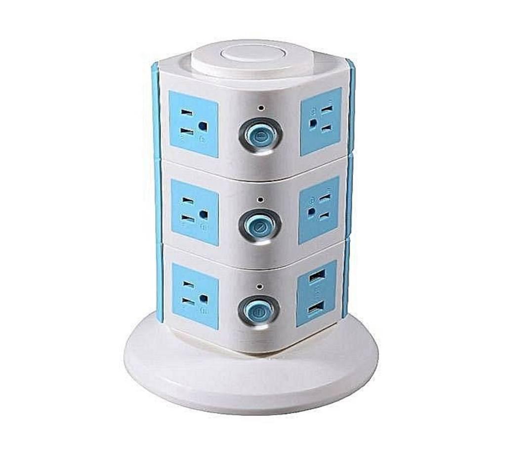 3 লেয়ার উইথ UK 12 আউটলেট এন্ড 6 USB পোর্টস স্মার্ট পাওয়ার সকেট - হোয়াইট এন্ড ব্লু বাংলাদেশ - 815796