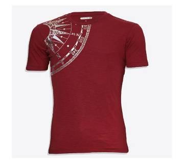 Cotton half sleeve t-shirt for men -maroon