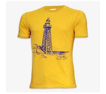 Cotton half sleeve t-shirt for men -Yellow