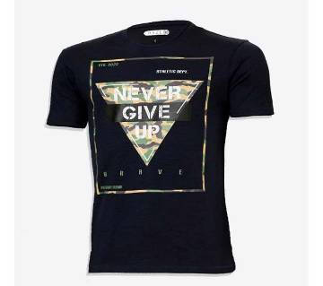 never give up Cotton half sleeve t-shirt for men